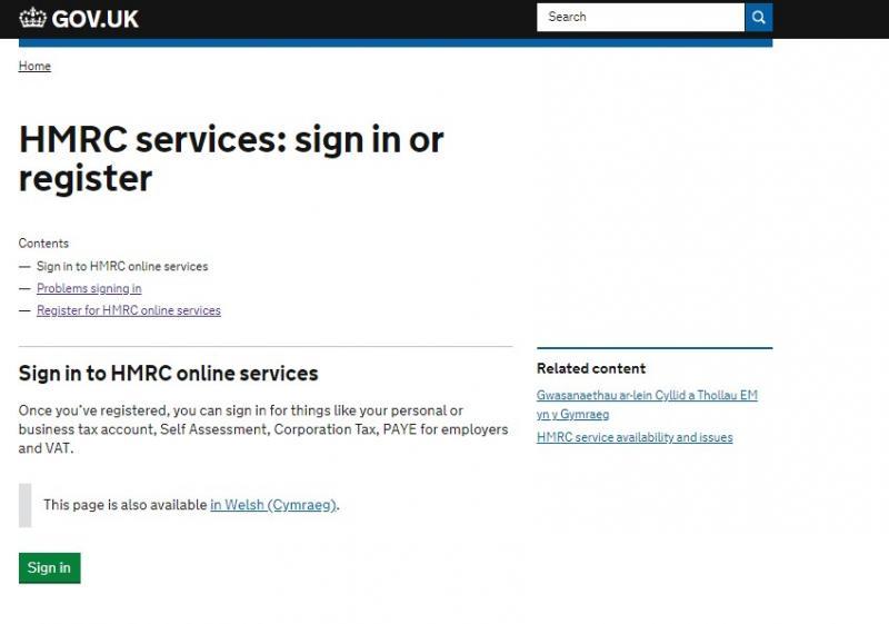 HMRC Sign in screenshot1